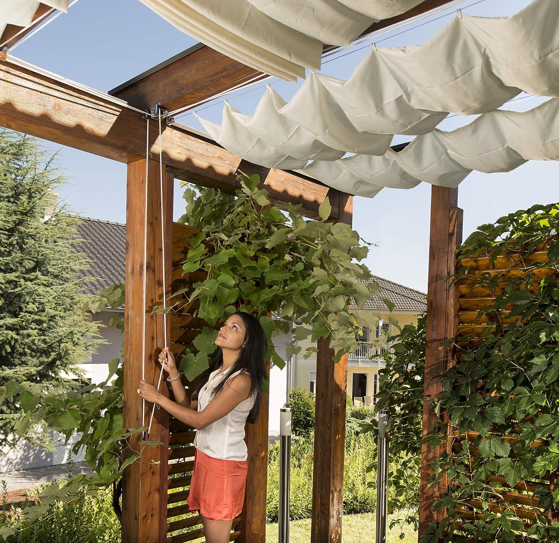 Windhager Set Completo de toldo tecnología de tensado de Cuerdas, Incl. Vela 270 x 140 cm, pérgola o Invernadero para una protección Solar Ideal, Crema Blanca 10868: Amazon.es: Jardín