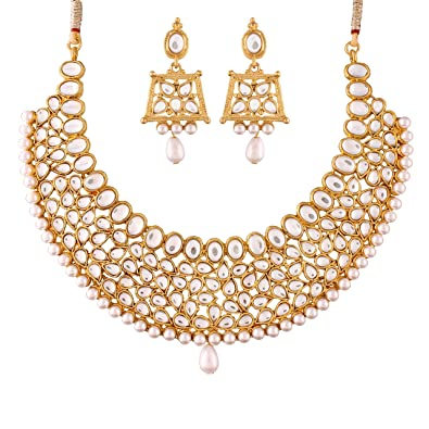 680db13d4f745 I Jewels Valentine's Special Traditional Kundan & Pearl Necklace Set for  Women (K7059W)