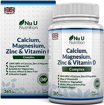 Calcium Magnesium Zinc Vitamin D Supplement 365 Vegetarian Tablets 6 Month Supply Of Nu U Nutrition Osteo Supplement