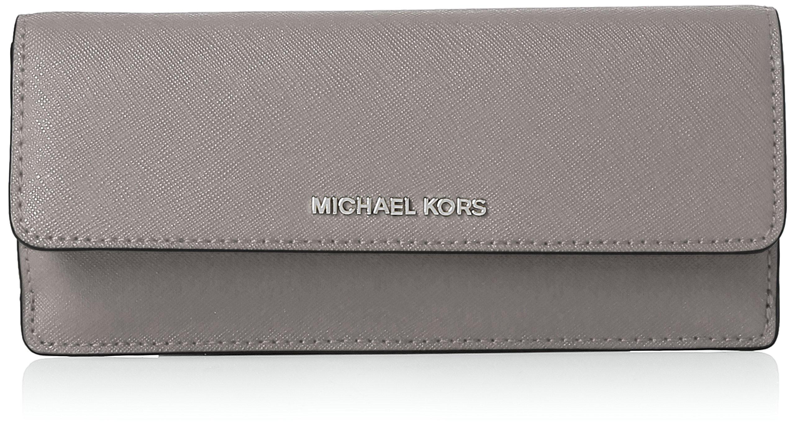 MICHAEL Michael Kors Jet Set Travel Slim Saffiano Leather Wallet, Color Pearl Grey