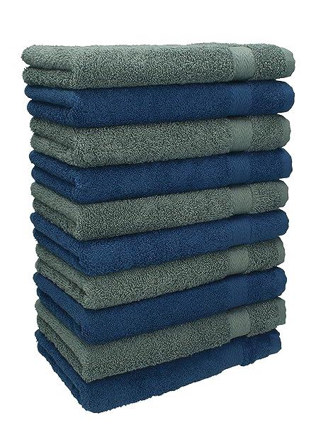 Betz 10 Toallas de cara 30x30cm PREMIUM 100% algodón de colores azul marino y gris