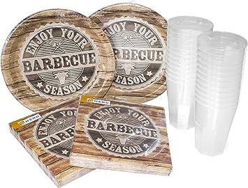 PartySet 100Stk Barbeque Teller Gabel Messer Becher Serviette