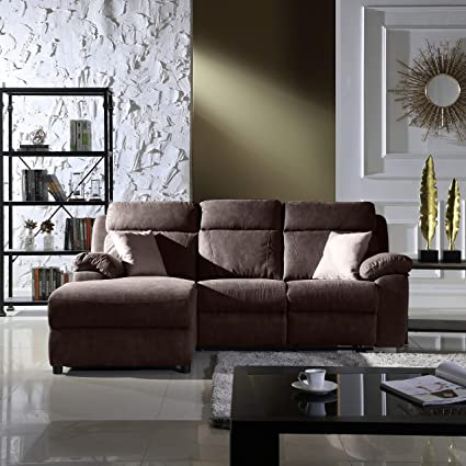 Amazon.com: Classic Traditional Small Space Reclining Sectional Sofa ...