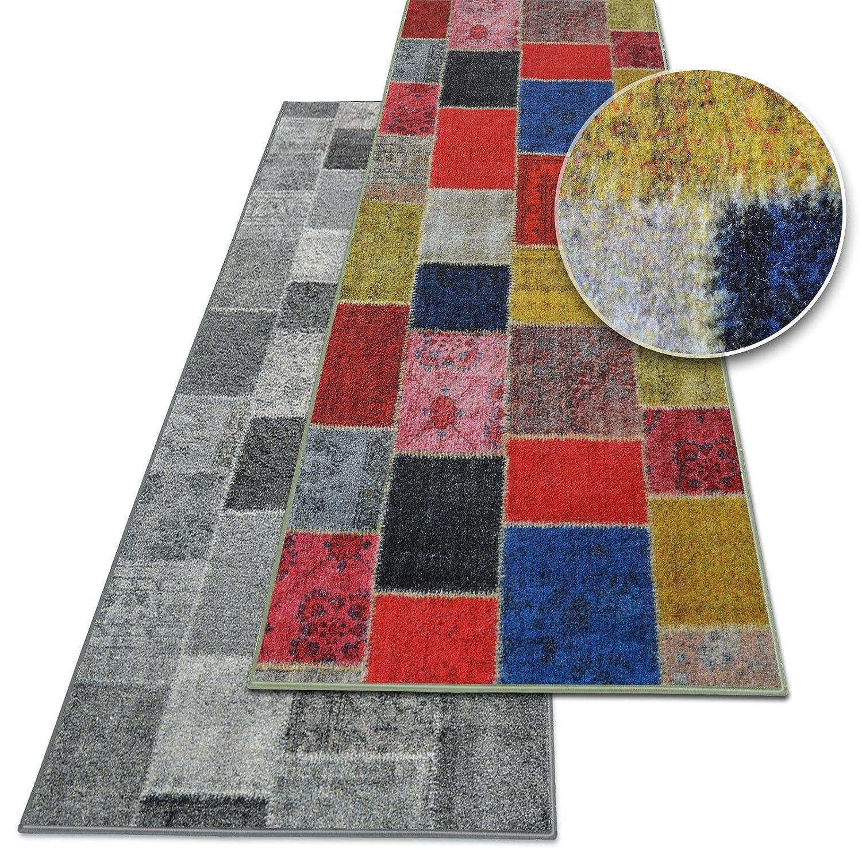 Casa pura Teppichläufer Monsano   Patchwork Muster im Vintage Look   viele Größen   moderner Teppich Läufer für Flur, Küche, Schlafzimmer   Niederflor Flurläufer   bunt Breite 80 cm x Länge 700 cm