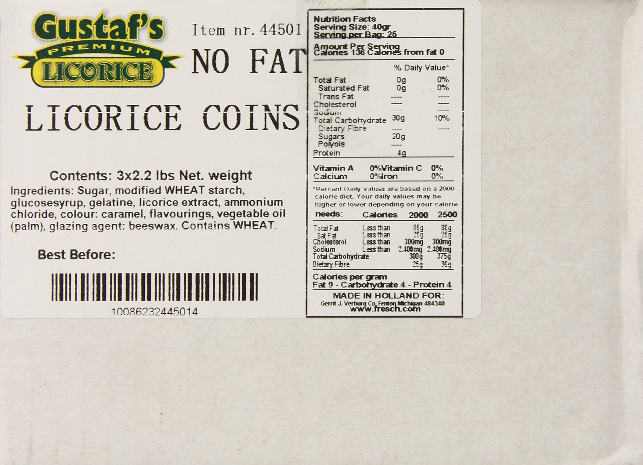 Gustaf's no fat licorice coins, 2.2-Pound Bags (Pack of 3) by Gustaf's