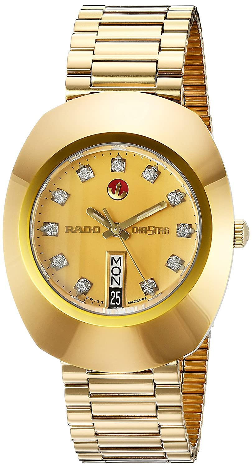rado men s gold plated bracelet case anti reflective sapphire rado men s gold plated bracelet case anti reflective sapphire automatic gold tone dial watch r12413493 amazon co uk watches