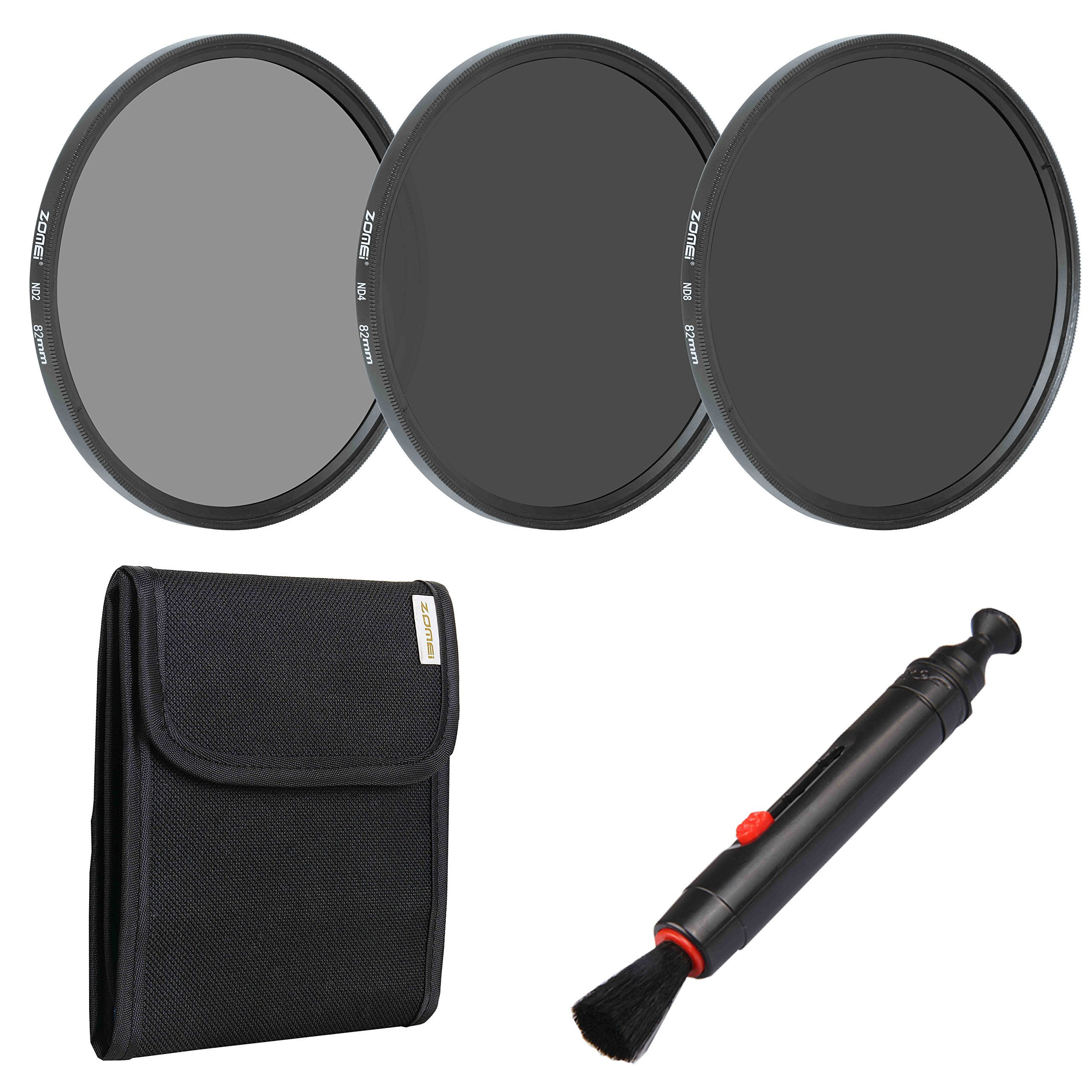 ZoMei 82mm Camera Lens Neutral Density Filter Set Include ND2 ND4 ND8 + Lens Pen + Filter Pouch by ZOMEi