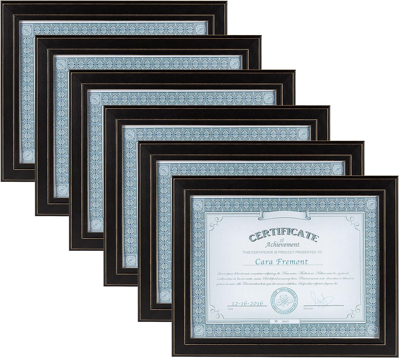 DesignOvation Kieva Solid Wood Document Frames, Distressed Black 8.5x11, Pack of 6