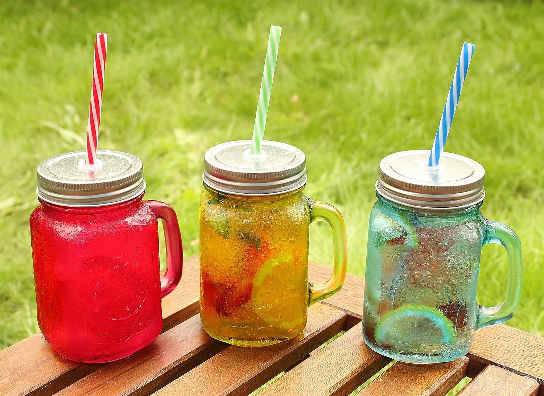 amos tarros coloreados con mangos jarras de vidrio frascos de mermelada vasos para fiesta de jardin beber cctel vino cerveza zumo agua con