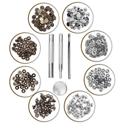 Kurtzy 80 set metal snap fastener poppers Silver Bronze Press Studs with 4  fixing tool sew on fabric snap button DIY leather craft Jean Wallet Jacket