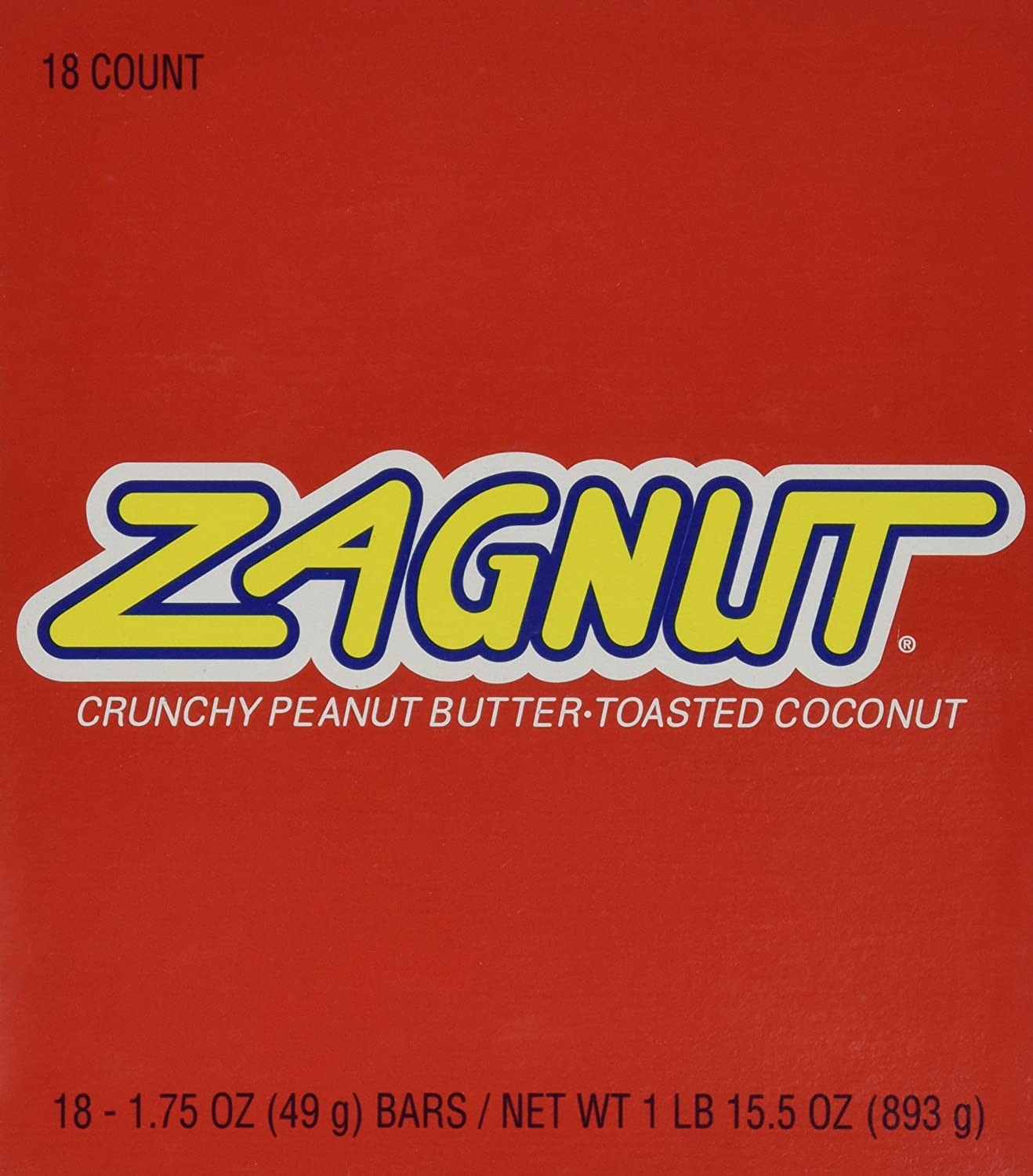 Amazon.com : Zagnut Bar, 1.75 oz, 18 count : Candy And Chocolate Single  Serve Bars : Grocery & Gourmet Food