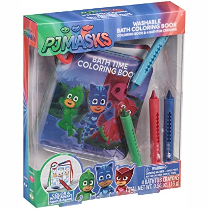 PJ Masks Washable Bath Coloring Book Coloring Book and 4 Crayons