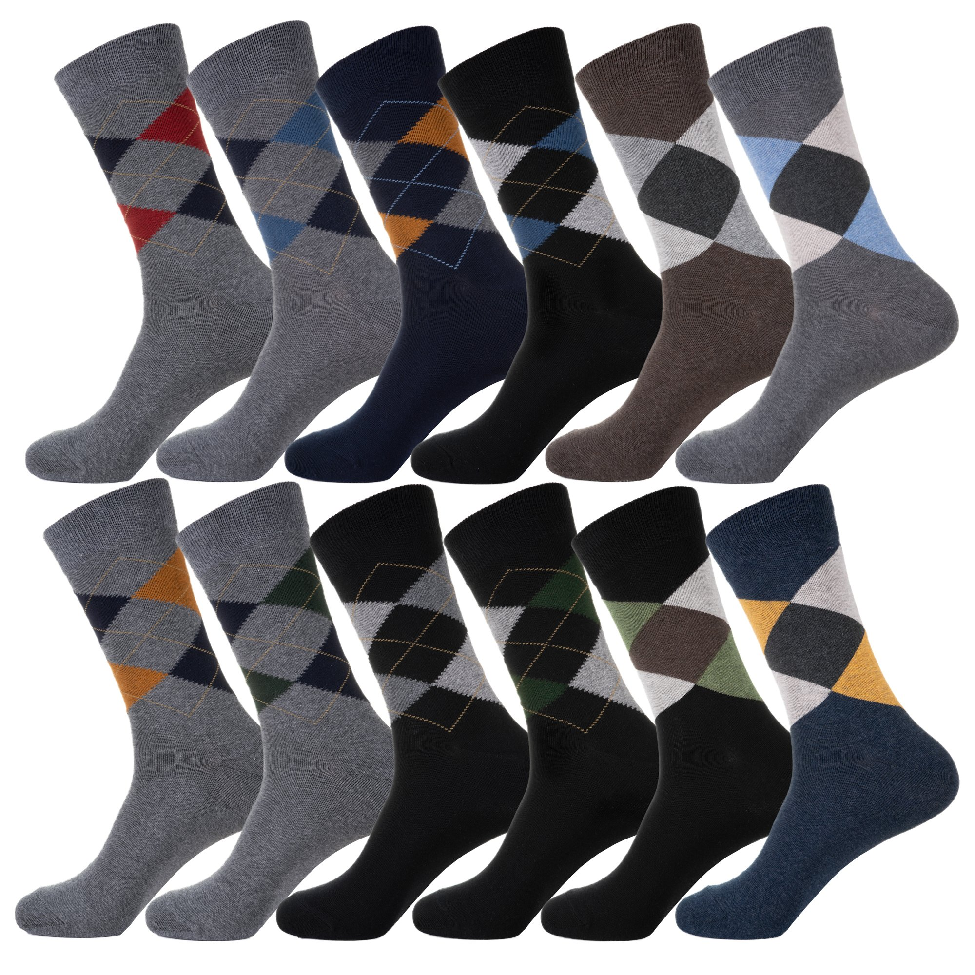 YourFeet Men's 12 Pack Thin Cotton Colorful Stripe Argyle Designed Business Dress Socks Gift Size 9-12 (Argyle assorted)