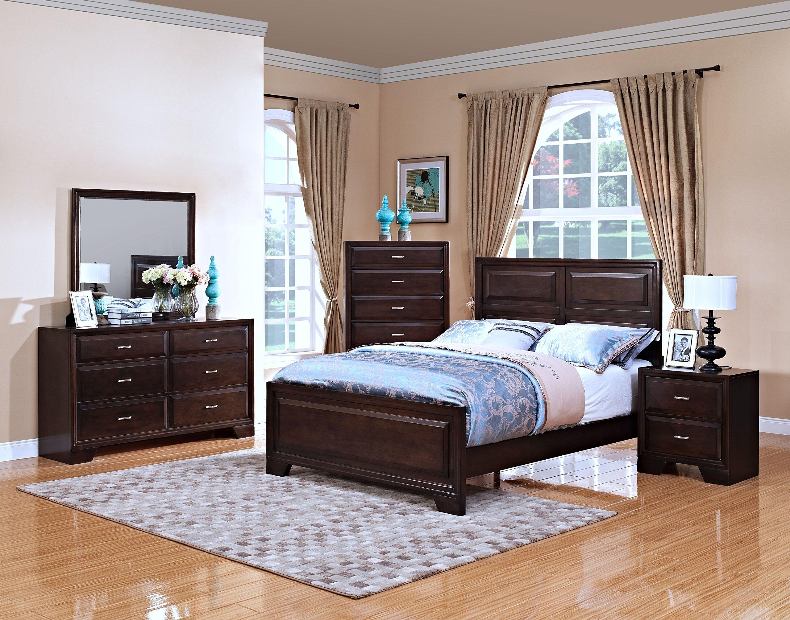 New Classic 00-143-34N Garrett 4-Piece Bedroom Set Queen Bed, Dresser, Mirror, Nightstand, Chestnut