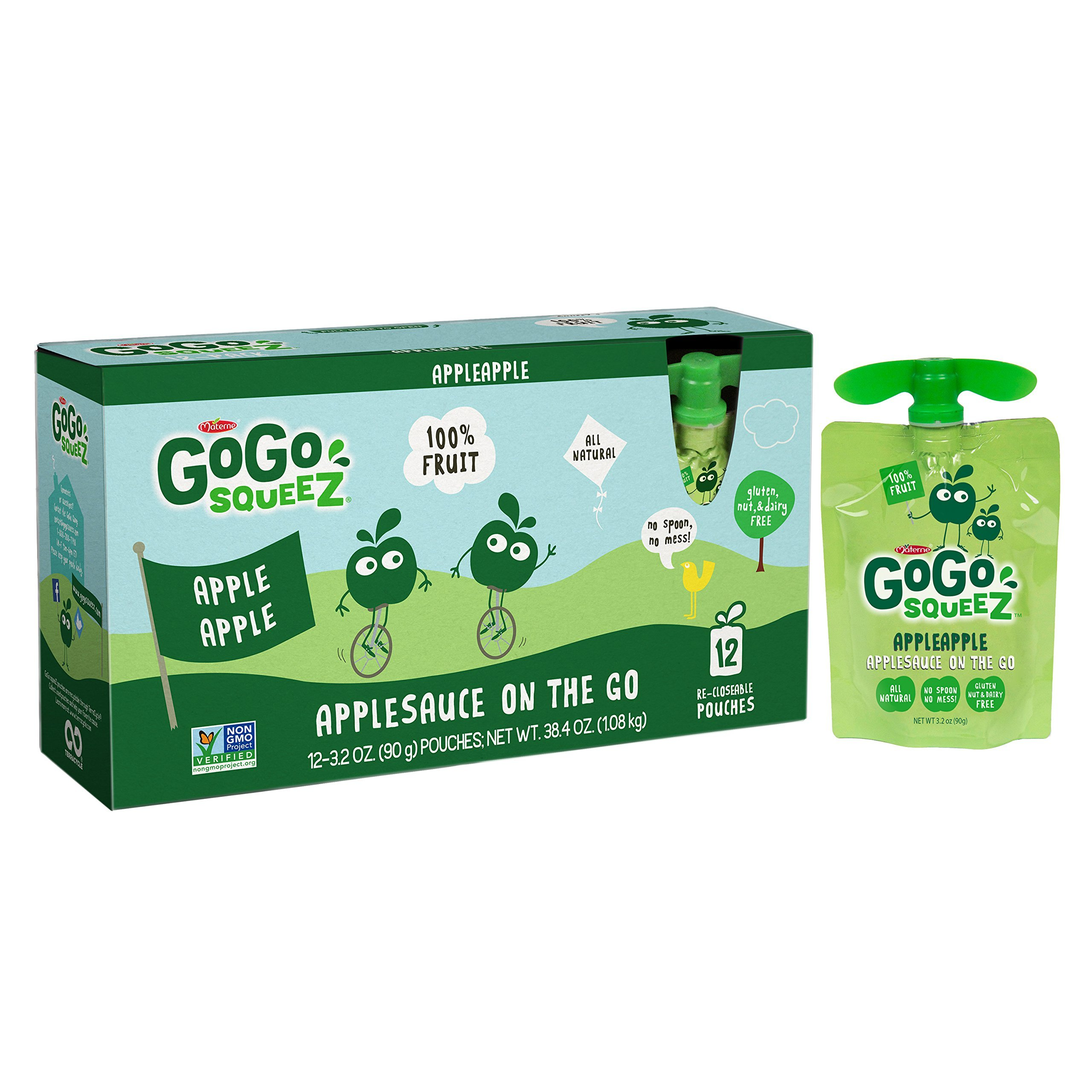 GoGo squeeZ Applesauce on the Go, Apple Apple, 3.2 Ounce Portable BPA-Free Pouches, Gluten-Free, 12 Total Pouches
