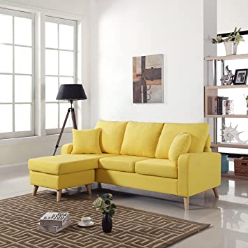 small space modern furniture. mid century modern linen fabric small space sectional sofa with reversible chaise yellow furniture o
