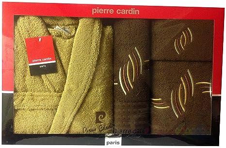L/XL Marrón y CHOCOLATE marrón gota de lluvia Pierre Cardin 4 piezas Albornoz y