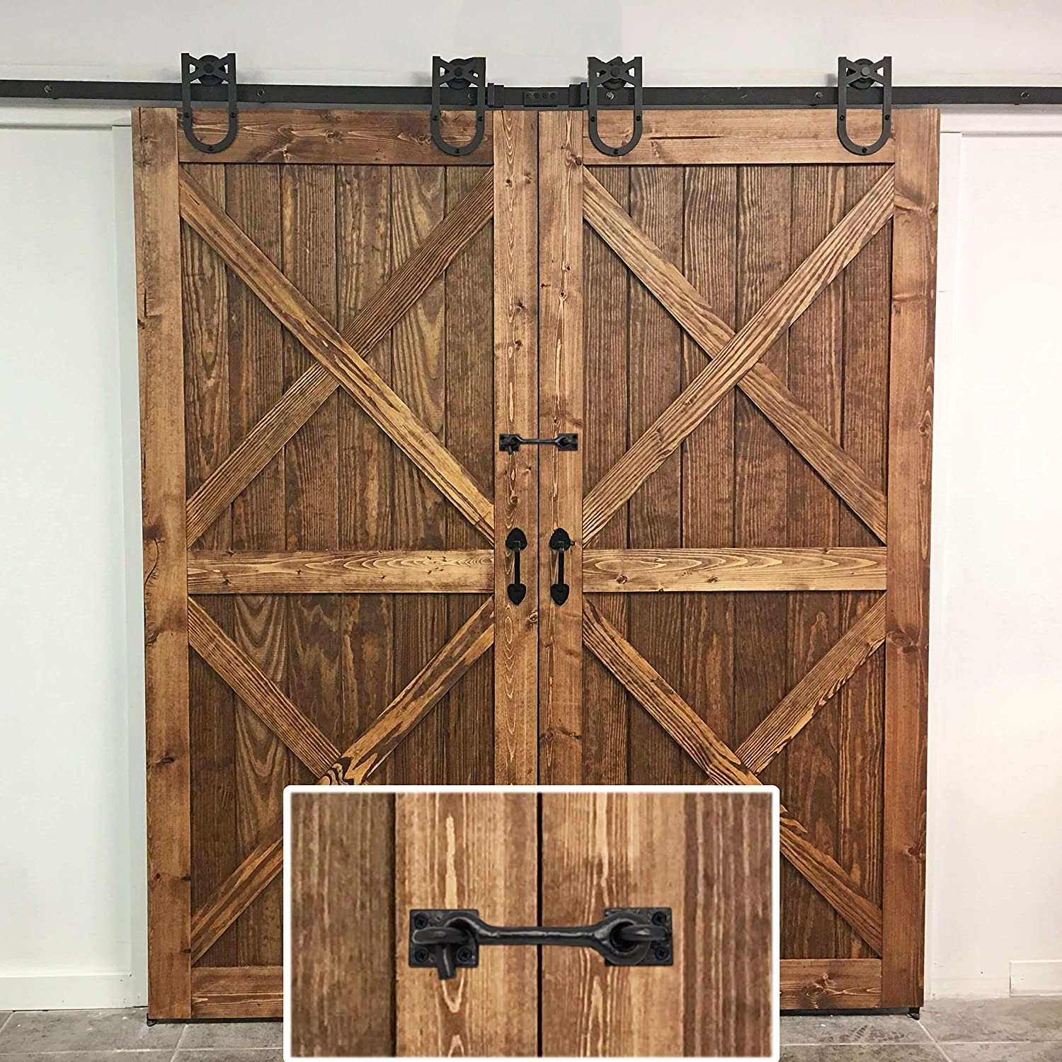 Rustic Best Value for Sliding Barn Door 2 Pack Ironmite 4.5 Premium Cast Iron Cabin Hook and Eye Latch Lock 4.5 inch Heavy Duty Metal Design with Screws Home Vintage Bedroom Gate Shed