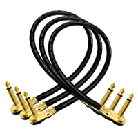 3 Units - Van Damme Pro Grade Classic XKE - 18 Inch (45 cm) – Premium, Ultra-Flexible Multi -Shielded Guitar Bass Effects Instrument, Patch Cable - with Premium Gold Plated, Low-Profile, Right Angled Pancake type TS (6.35mm) Connectors