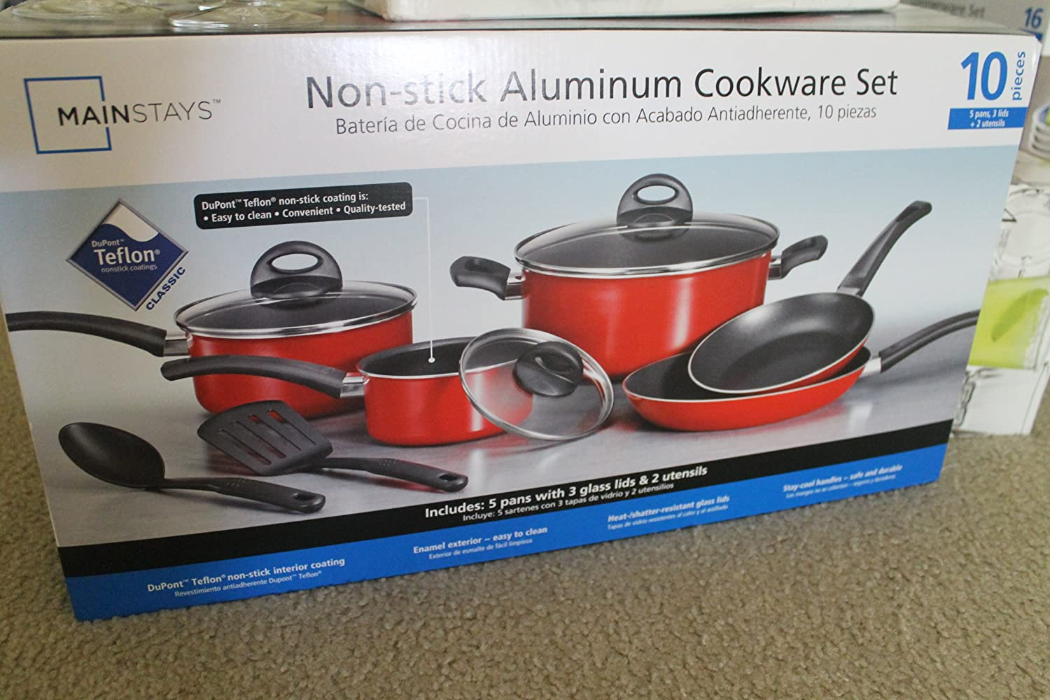 Amazon.com: Mainstays 10-Piece Non-Stick Cookware Set, Red: Cell Phones & Accessories