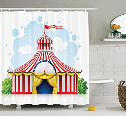 Ambesonne Circus Decor Shower Curtain Set Striped Strolling Marquee Tent With Flag Artwork Holiday