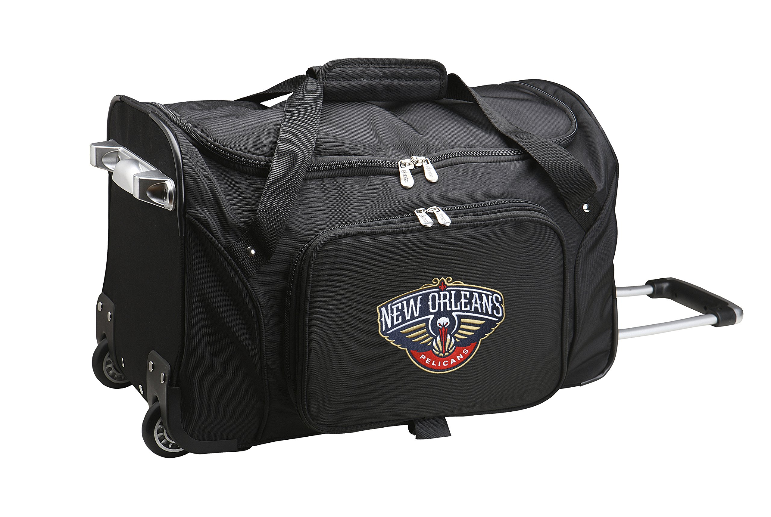 NBA New Orleans Pelicans Wheeled Duffle Bag, 22 x 12 x 5.5'', Black