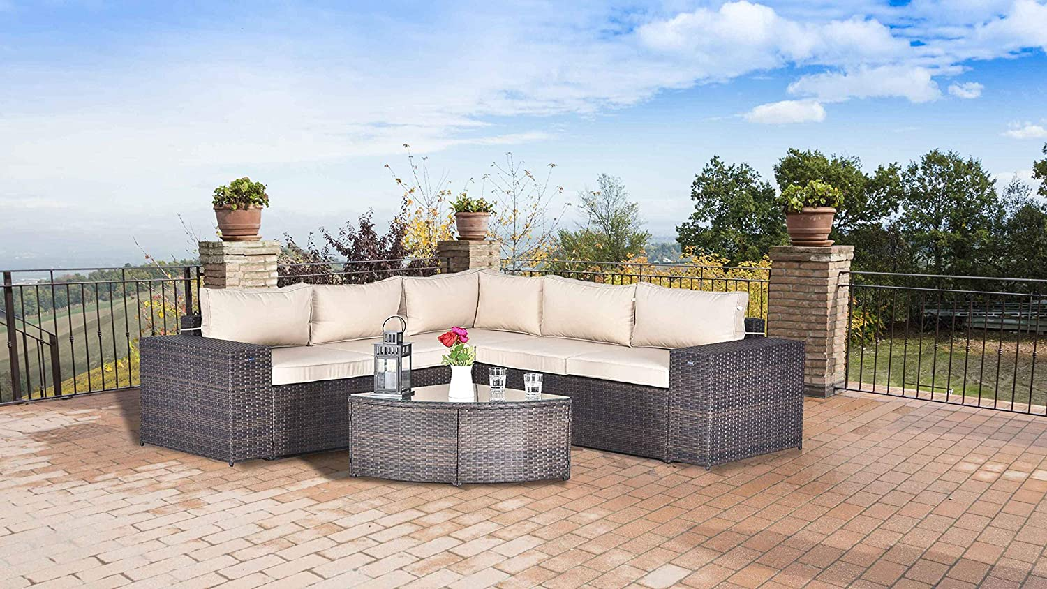 Fade Brown Gotland 6pcs Outdoor Rattan Sectional Sofa Wide Armrest Patio Wicker Furniture Set ,with Weather Resistant Tan Cushions /& Tea Table