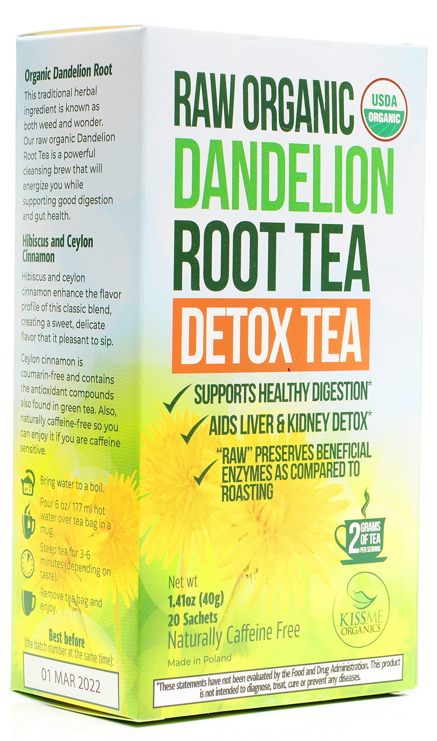 Organic Dandelion Root Tea Detox - Raw Vitamin Rich Digestive - 1 Pack (20 Bags, 2g Each) - Helps Improve Digestion and Immune System - Anti-inflammatory and Antioxidant - by Kiss Me Organics