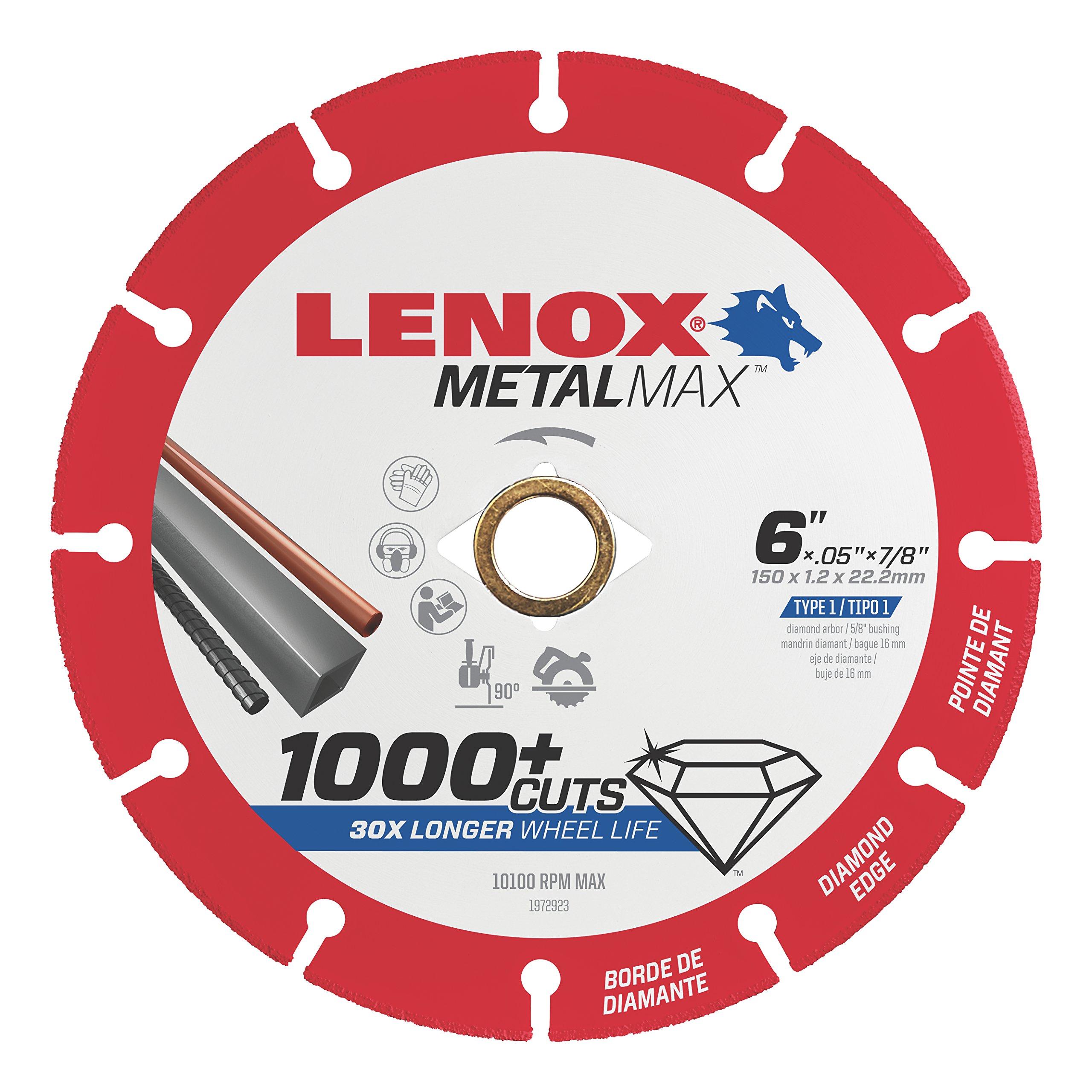Lenox Tools 1972923 METALMAX Diamond Edge Cutoff Wheel, 6'' x 7/8''