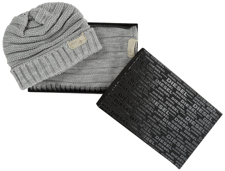 75b14ff6804a Diesel - - Homme - Coffret bonnet écharpe gris Jingle pour homme - TU   Amazon.fr  Vêtements et accessoires