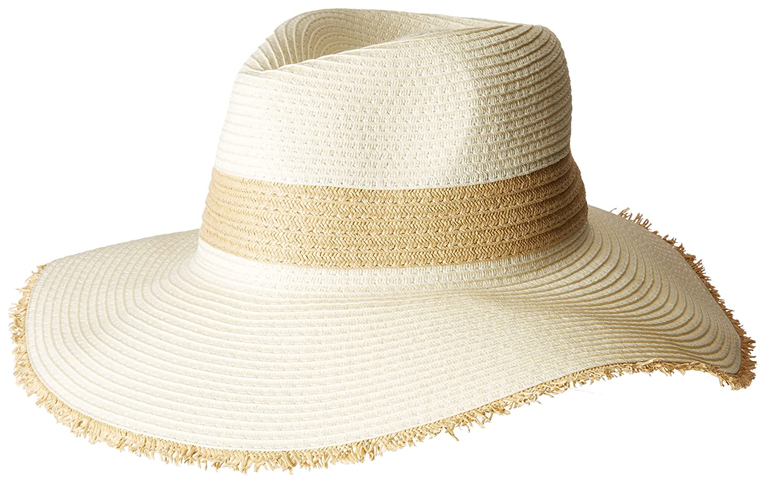 San Diego Hat Company Women's Natural Inset and Frayed Edge Fedora Hat Black One Size