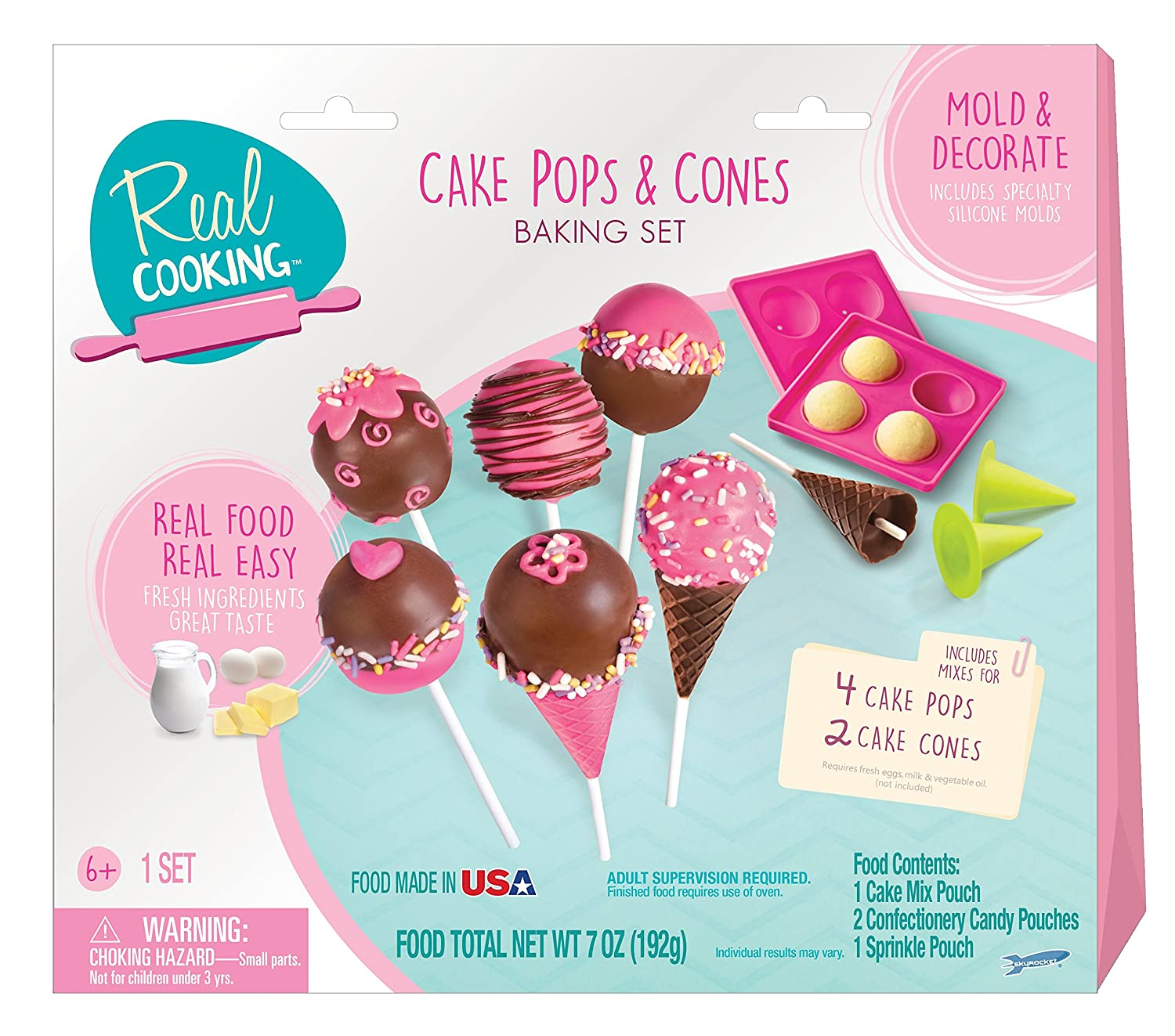 real cooking cake pops and cones baking set 15 pc cake mix sprinkles and candy included top. Black Bedroom Furniture Sets. Home Design Ideas