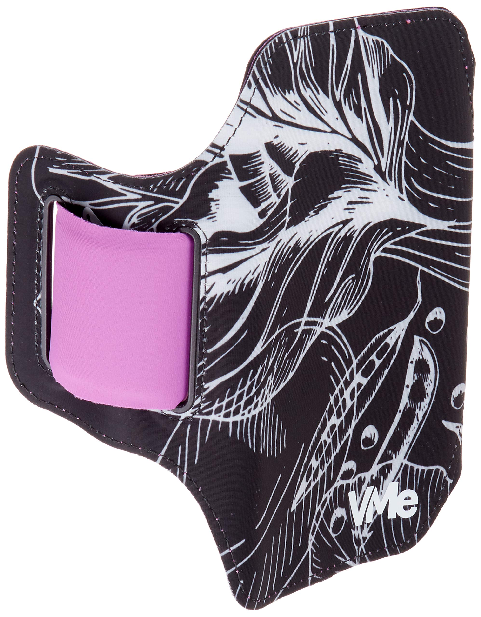 VMe Abstract and Fun Vegan Design Running Armband for iPhone X, Xs, Xr, 8, 7, 6, Galaxy S9, S8, S7 with Adjustable Band & Key/Card Slot ... (Leafy Black/Purple) by VegetableMe