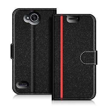 COODIO Funda LG X Power 2, Funda Cuero LG X Power 2, Funda Cartera LG X Power 2 Case con Magnético/Billetera/Soporte para LG X Power 2, Negro/Rojo