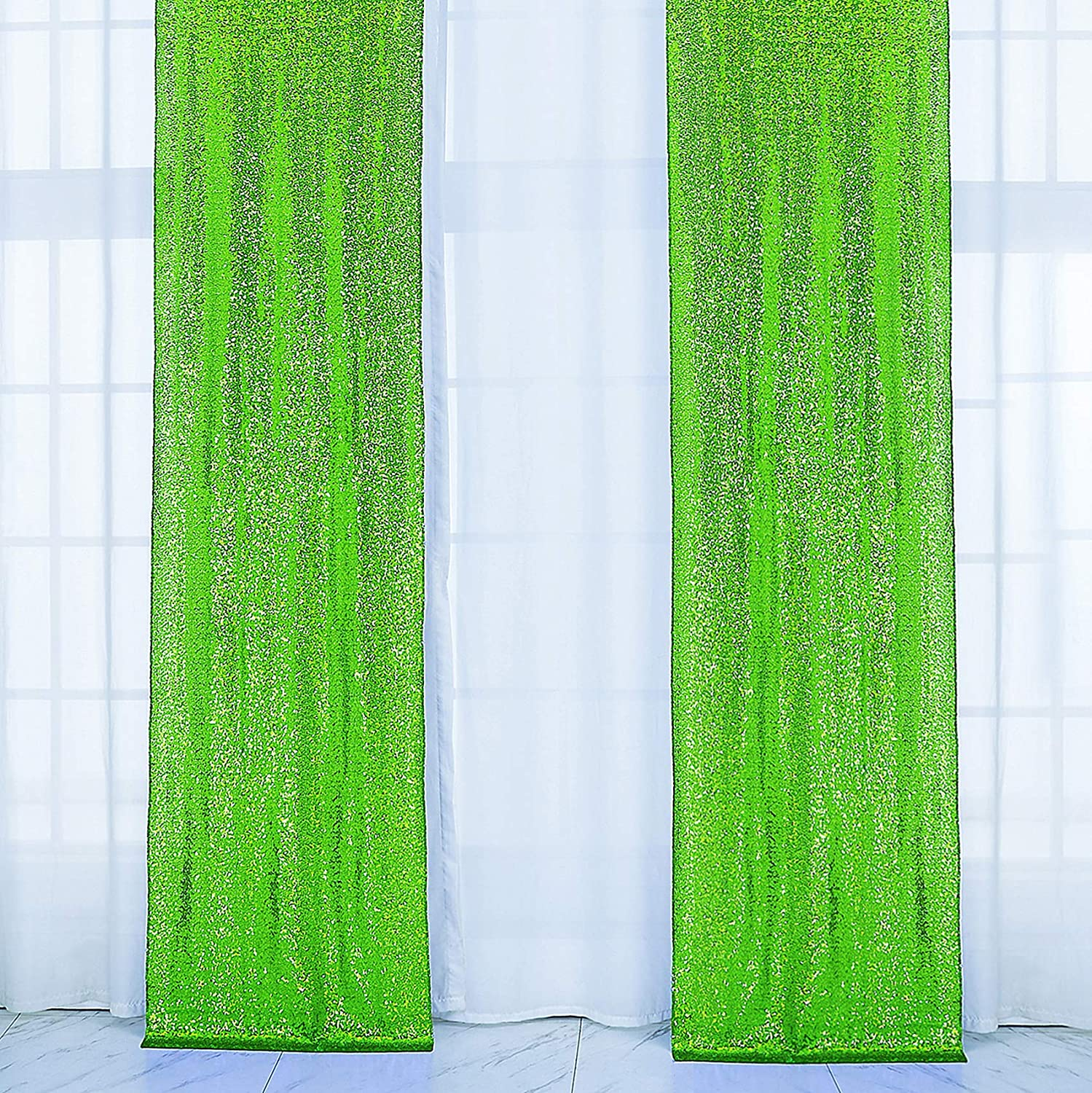 2×8FT-2PCS Apple Green Sequin Backdrop Curtains Panels, Photography Backdrop Glitter Curtains Fabric Background for Wedding Party Decor