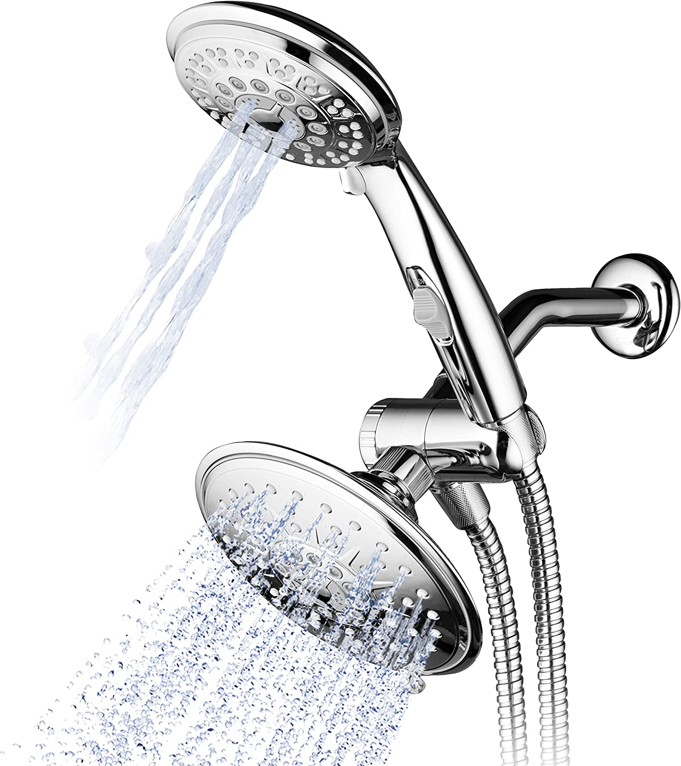 Chrome P... Water Saving Shower head with Push Button Flow Control and Shut Off