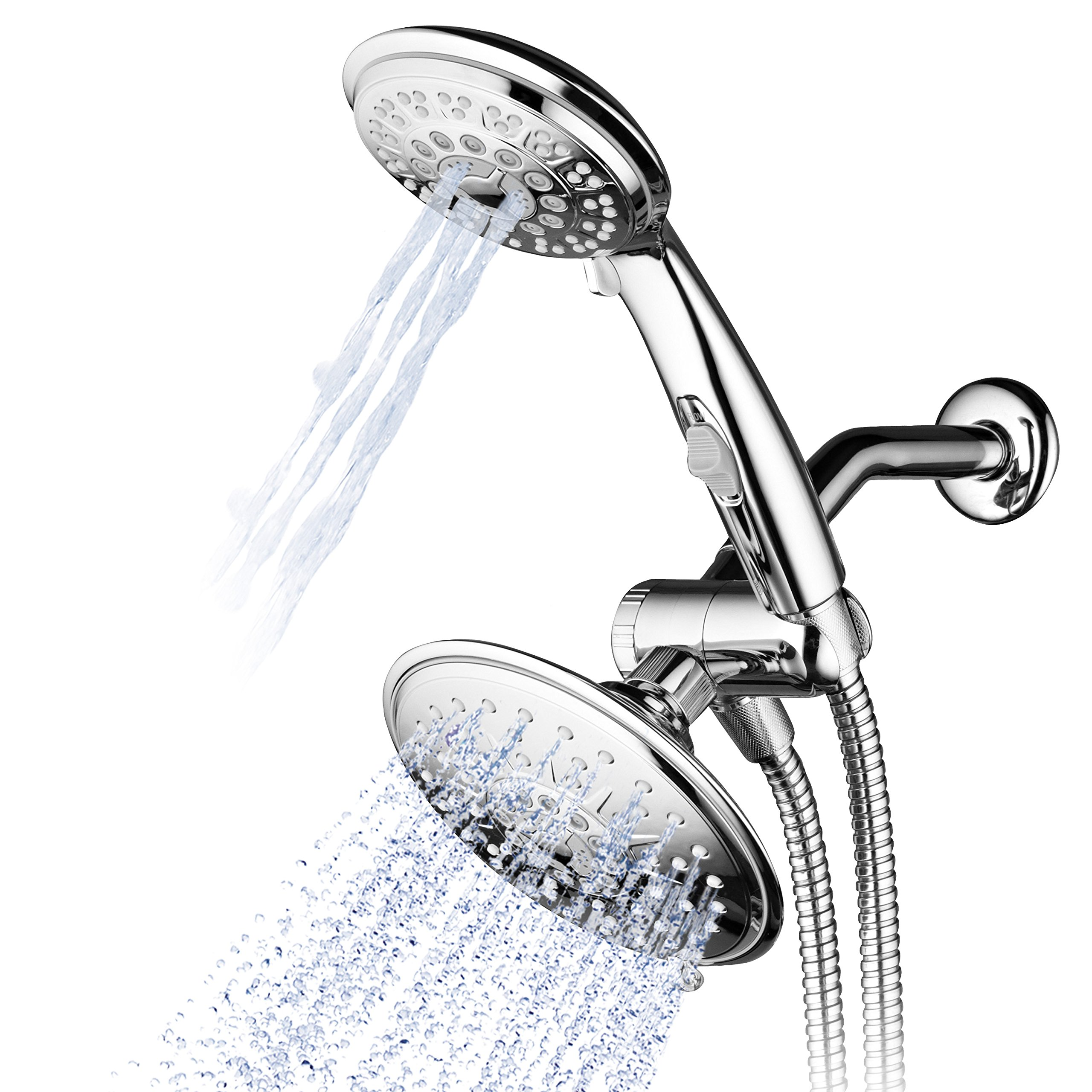 Hydroluxe 1842 30-Setting Ultra-Luxury 3-way 6 Inch Rainfall Shower Head|Handheld Shower Combo with Patented ON/OFF Pause Switch. Switch between shower heads or use both together! (Premium Chrome)