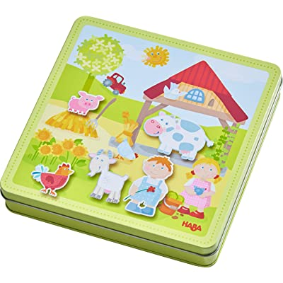HABA Peter and Pauline's Farm Magnetic Game with 4 Background Scenes in Storage Tin: Toys & Games