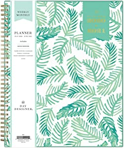 "Day Designer for Blue Sky 2020-2021 Academic Year Weekly & Monthly Planner, Flexible Cover, Twin-Wire Binding, 8.5"" x 11"", Palms"