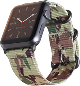Carterjett Compatible with Apple Watch Band 42mm 44mm Camouflage Woven Nylon Rugged iWatch Bands Replacement Strap Canvas Military Style Loop Buckle for Series 5 Series 4 3 2 1 (42 44 S/M/L Camo)