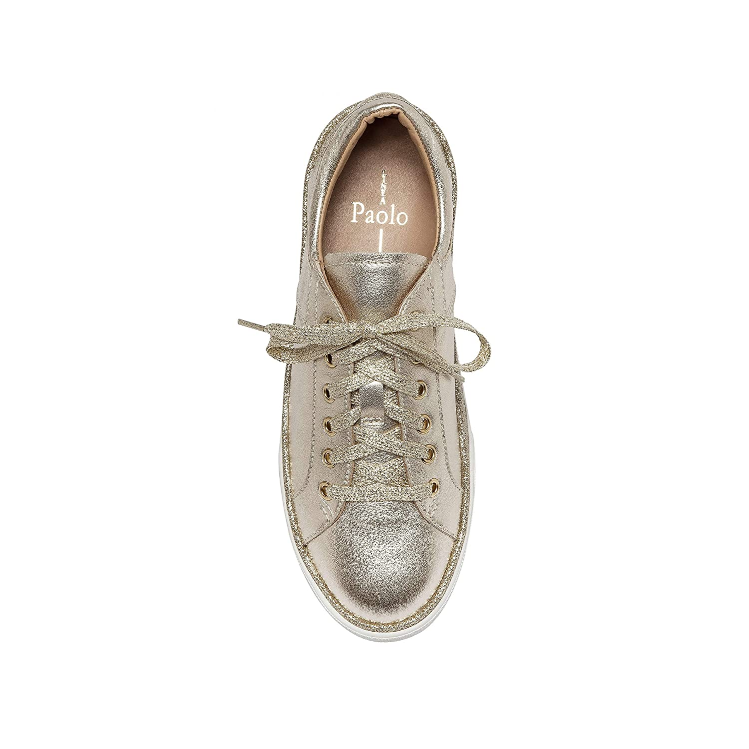 New Spring Sporty Handcrafted Lace Up Leather and Glitter Sneaker/  Linea Paolo Katz/