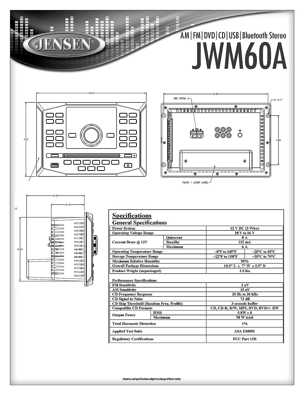 Jensen Jwm60a Am Fm Dvd Cd Usb Aux App Ready Bluetooth Pioneer Deh 425 Wiring Diagram Wallmount Stereo With Control Plays R Rw Mp3