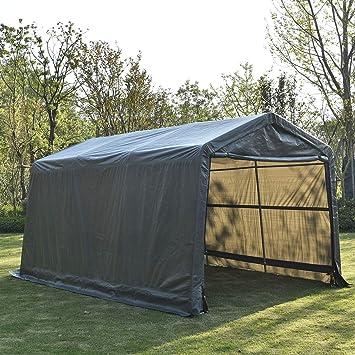 sliverylake 10 × 15 × 8FT automático refugio portátil Carport coche barco cobertizos de almacenamiento de garaje Auto tienda: Amazon.es: Jardín