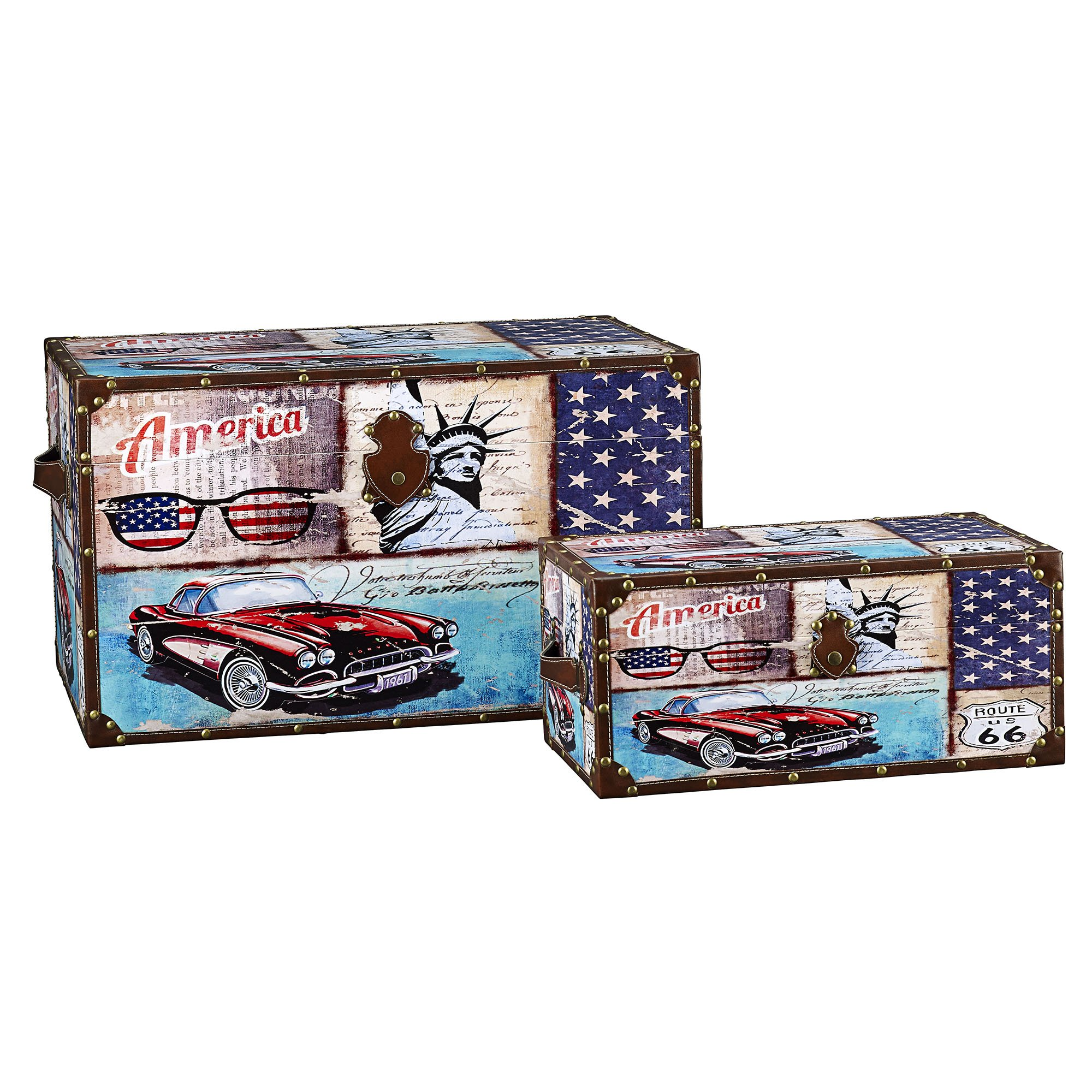 Household Essentials Decorative Storage Trunk, Classic Americana Vintage Car Design, Set of 2