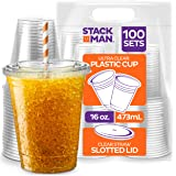 Stack Man [100 Sets - 16 oz.] Clear Plastic Cups with Straw Slot Lid, PET Crystal Clear Disposable 16oz Plastic Cups…