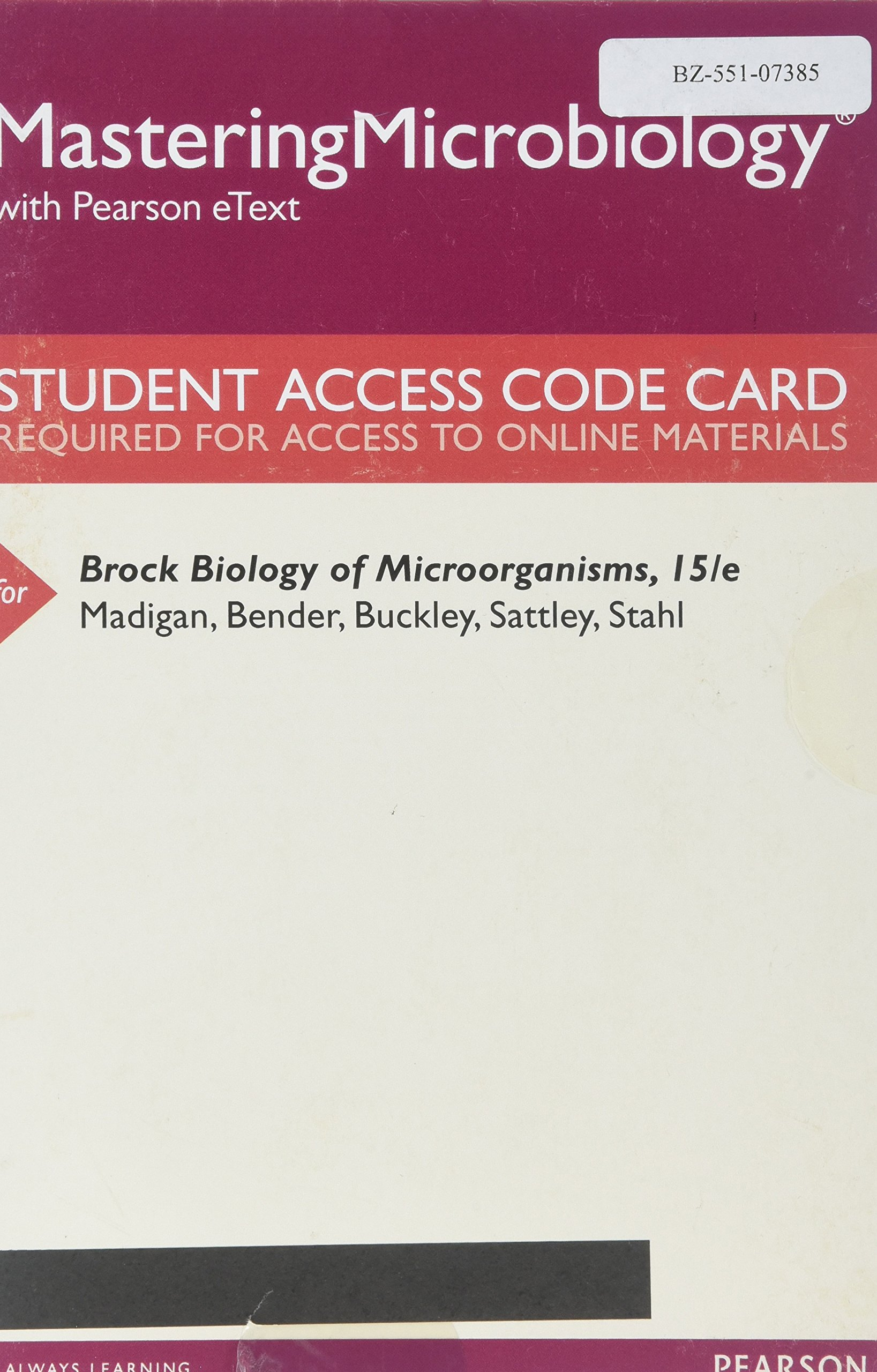 Mastering Microbiology with Pearson eText -- Standalone Access Card -- for Brock  Biology of Microorganisms (15th Edition): Michael T. Madigan, ...