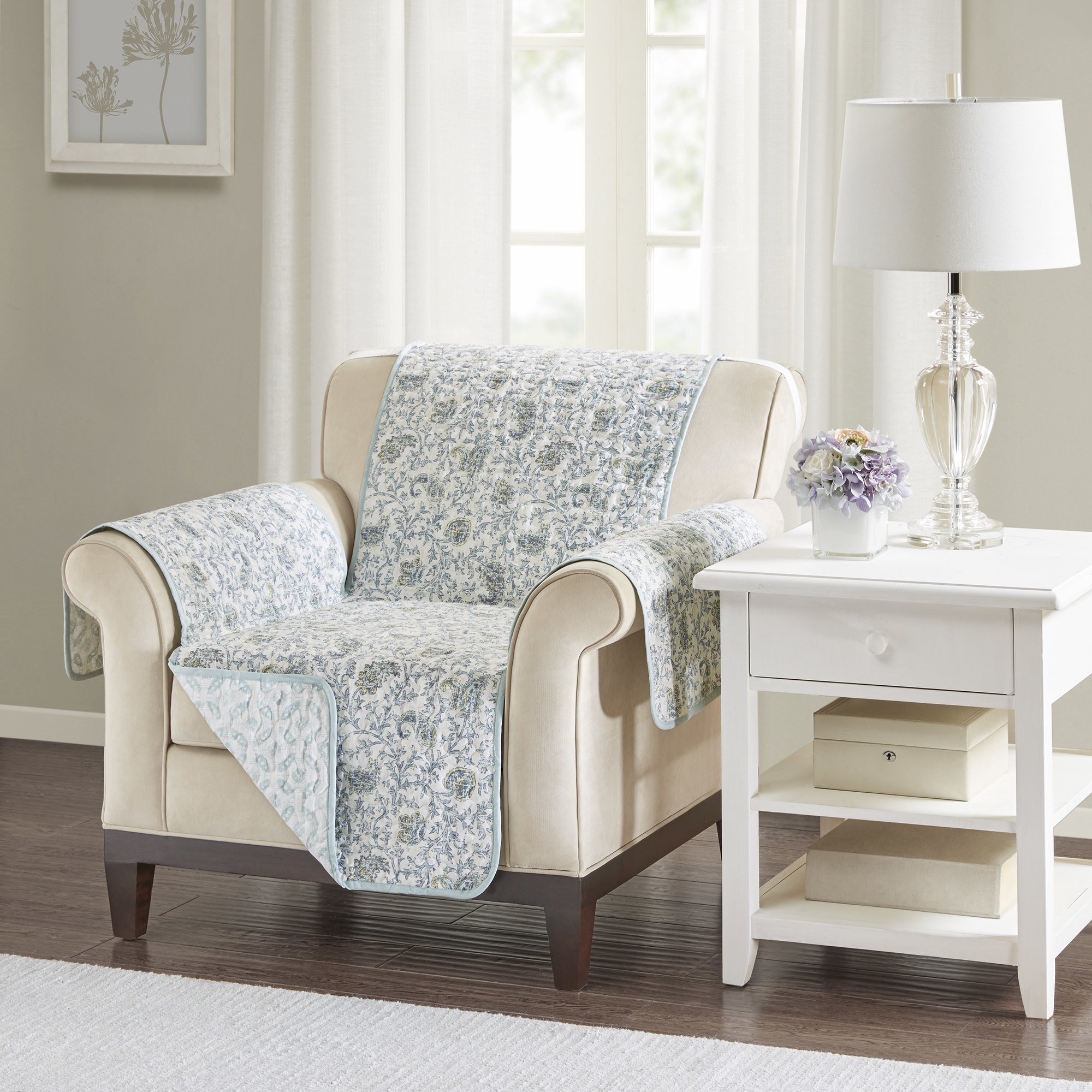 MN 1 Piece Grey White Floral Theme Chair Protector, Gray Geometric Flower Pattern Couch Protection Flowers Paisley Leaves Furniture Protection Cover Pets Animals Covers Nature, Polyester