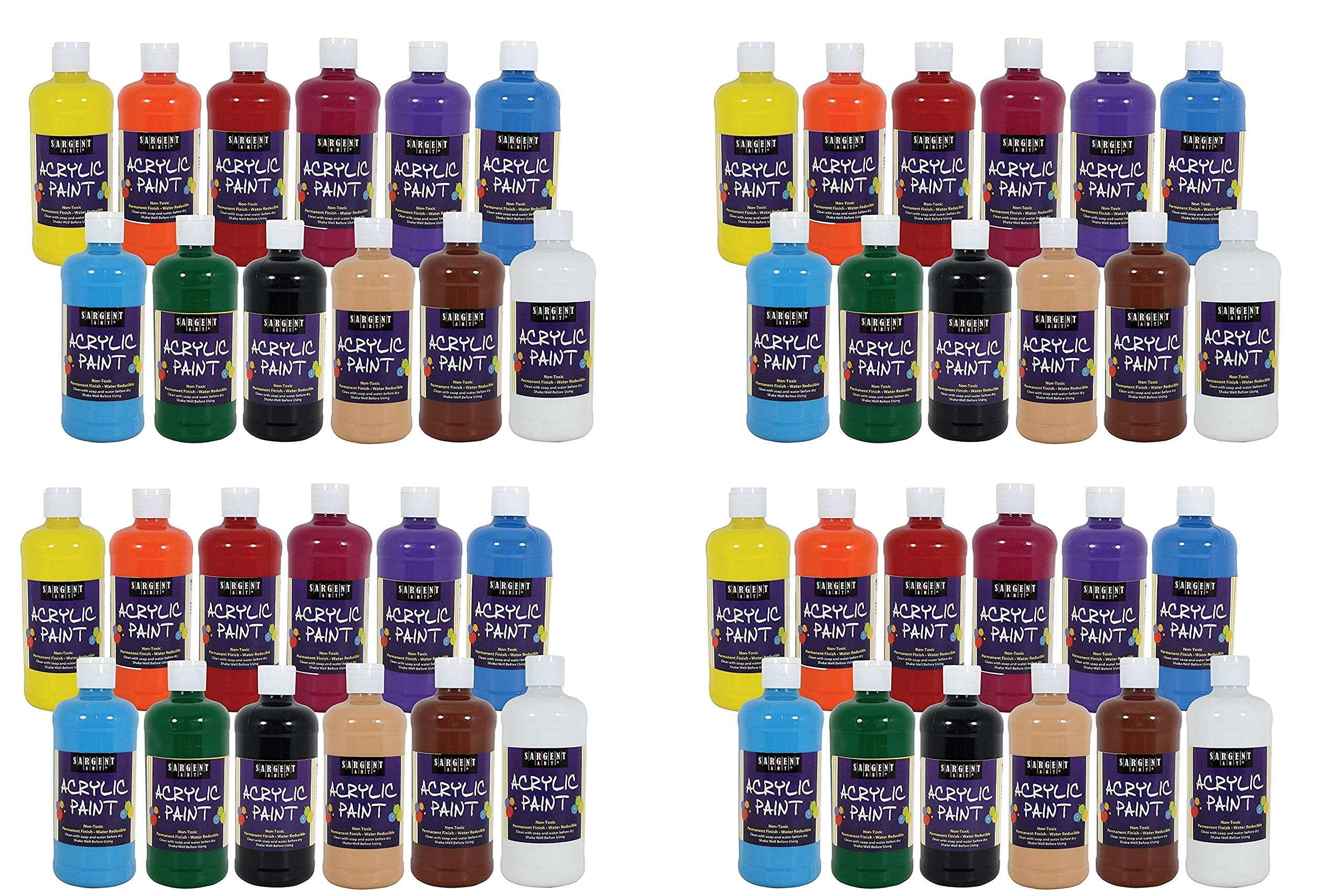 Sargent Art 24-2498 Count Artist Quality Acrylic Paint Set (4 X Pack of 12) by Sargent Art