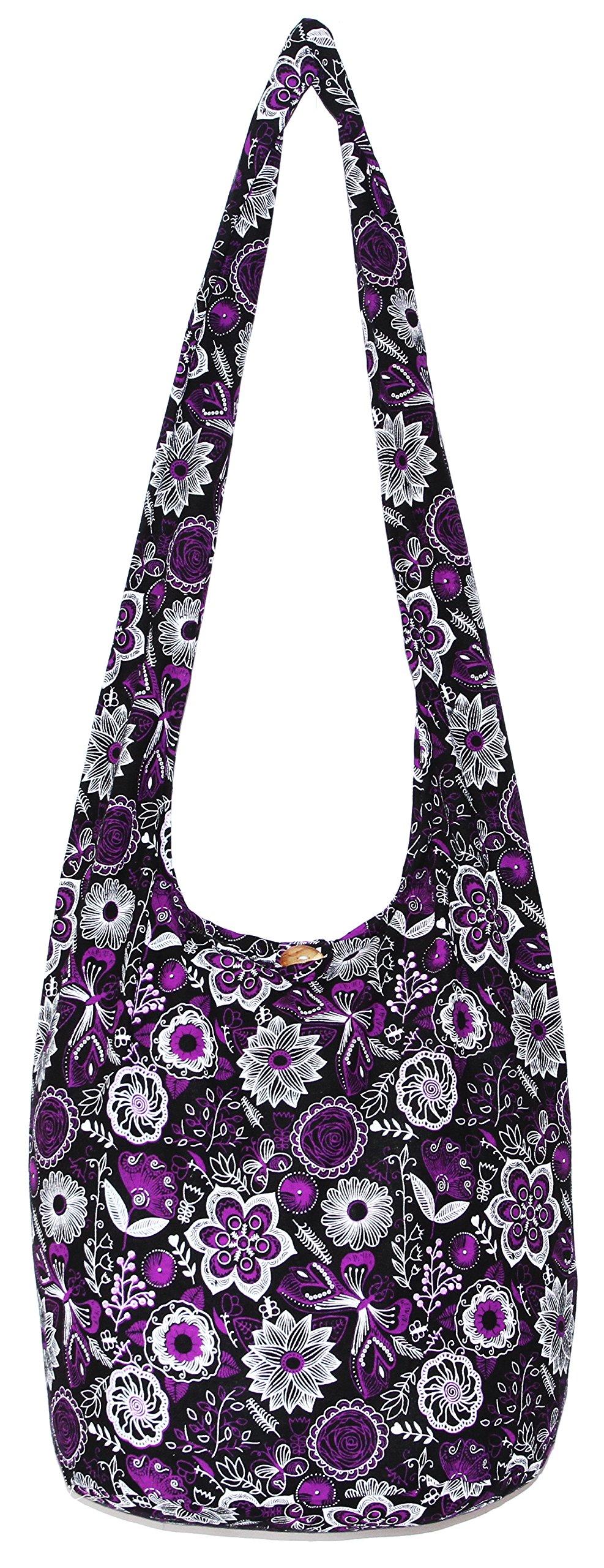 Flower Bohemian Hippie Hipster Hobo Boho Crossbody Shoulder Bag (DarkViolet)