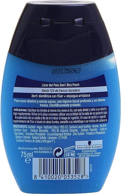 Licor del Polo Xtra Fresh 2 en 1 Dentífrico + Enjuague - 75 ml ...